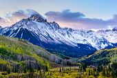 Sunrise View Of Mt. Sneffels On The Dallas Divide. Autumn Scenery In The Beautiful San Juan  Mountai poster