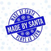Made By Santa Round Stamp Seal On Winter Background With Snow. Blue Vector Rubber Imprint With Made  poster