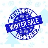 Winter Sale Round Stamp Seal On Winter Background With Snowflakes. Blue Vector Rubber Imprint With W poster