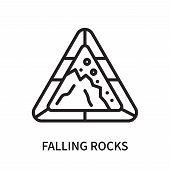 Falling Rocks Icon Isolated On White Background. Falling Rocks Icon Simple Sign. Falling Rocks Icon  poster