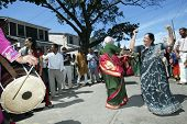 FLUSHING, NEW YORK - AUGUST 30: Hindus dance as they celebrate the birth of Ganesh, mythical god of