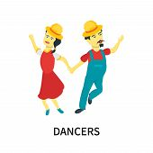 Dancers Icon Isolated On White Background. Dancers Icon Simple Sign. Dancers Icon Trendy And Modern  poster