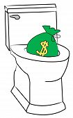 Toilet W Money Being Flushed
