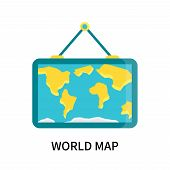 World Map Icon Isolated On White Background. World Map Icon Simple Sign. World Map Icon Trendy And M poster
