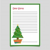 Christmas Letter With Tree. Christmas Letter. Merry Christmas Letter. Santas Letter. Dear Santa. Let poster