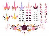 Unicorn Face Creation Kit Vector Illustration - Cartoon Elements For Creation Of Magic Fairy Animal. poster