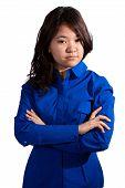 Asian girl folding her arms
