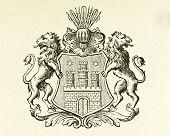 Wappen der Stadt Hamburg. Illustration von Alwin Zschiesche, veröffentlicht am