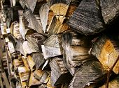 Firewood Background, Stacks Of Firewood In The Forest. Pile Of Firewood. Firewood Dry Firewood In A  poster