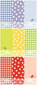 stock photo of dot pattern  - summer scrapbook panels and bird  - JPG