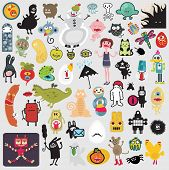 Big set of different cute monsters