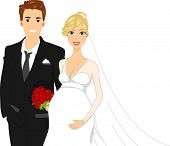 Illustration of a Pregant Bride Standing Beside Her Groom