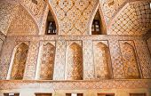 Oriental ornamented wall inside of Ali Qapu Palace, Esfahan, Iran.