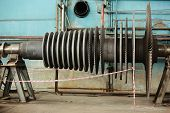 Steam Turbine Of Power Generator In An Industrial Thermal Power Plant. Industrial Steam Turbine At T poster