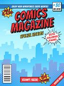 Comic Book Cover Page. City Superhero Empty Comics Magazine Covers Layout, Town Buildings And Vintag poster