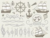 Decorative Marine Elements. Sea Rope Frames, Sailing Boat Or Nautic Ship Steering Wheel And Nautical poster