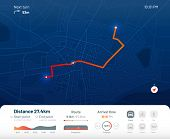 Route Dashboard. City Street Map Navigation, Town Running Routes And Gps Tracking Maps App Flat Vect poster