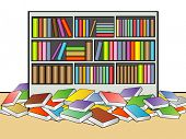 An illustration of book shelf in a library