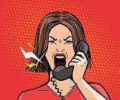 Angry Girl Or Young Woman Screaming Into The Phone. Pop Art Retro Comic Style. Cartoon Vector Illust poster