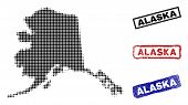 Halftone Vector Dot Abstracted Alaska Map And Isolated Black, Red, Blue Scratched Stamp Seals. Alask poster