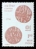 INDIA - CIRCA 1980: A stamp printed in India (present time India) shows Copper prepayment ticket, ci