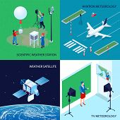 Four Squares Isometric Meteorological Weather Center Design Concept With Scientific Weather Station  poster