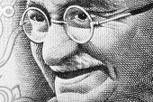stock photo of mahatma gandhi  - Close up shot of Gandhi on rupee note - JPG