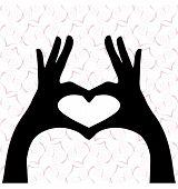 coração mãos silhueta (padrão de coração por trás)