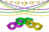Mardy Gras Horizontal Border With Beads And Carnival Mask. Carnival Mask With Shiny Glitter Texture. poster