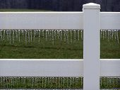picture of white vinyl fence  - Icy white vinyl fence with green pasture in the background.