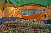 Unmade Airbed Inside Camping Tent