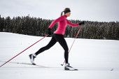Cross-country skiing: young woman cross-country skiing on a winter day (motion blurred image) poster