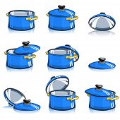 set of pans with lid vector illustration