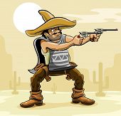 mexican bandit with gun in prairie vector illustration