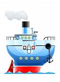 blue ship vector illustration isolated on white background