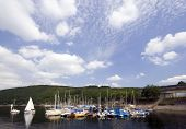 marina at the Rur Lake, Eifel, Germany