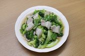 Stir Fried Broccoli, Peas With Crispy Pork With Oyster Sauce, Fried Vegetable Broccoli For Food Menu poster