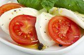 closeup of caprese salad