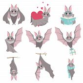 Collection Of Funny Gray Bats, Cute Creature Cartoon Characters In Different Situations Vector Illus poster