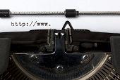beginning of URL written on old typewriter