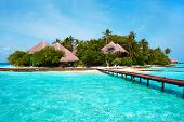 stock photo of beach-house  - Island of Paradise - JPG