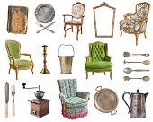 Set Of 21 Gorgeous Old Vintage Items. Old Dishes, Appliances, Kettles, Chairs, Books, Coffee Grinder poster
