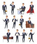 Poses Business Characters. Professionals Male Managers Working Sitting Holding Business Items People poster