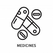 Medicines Icon Isolated On White Background. Medicines Icon Simple Sign. Medicines Icon Trendy And M poster
