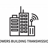 Towers Building Transmission Icon Isolated On White Background. Towers Building Transmission Icon Si poster