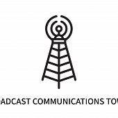 Broadcast Communications Tower Icon Isolated On White Background. Broadcast Communications Tower Ico poster