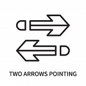 Two Arrows Pointing Right And Left Icon Isolated On White Background. Two Arrows Pointing Right And  poster