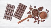 Chocolate Bars With Cocoa Beans And Bowl Of Chocolate Chips And Cacao Powder poster