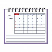 Isolated Page October Year 2019 Of Business Planner Calendar On The White. Flat Business Planning Co poster