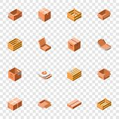Packing Box Icon Set. Isometric 3d Set Of Packing Box Vector Icons For Web Design poster